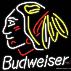 Budweiser Chicago Blackhawks Indian Hockey Real Neon Glass Tube Neon Sign x