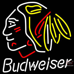 Budweiser Chicago Blackhawks Indian Hockey Neon Sign x