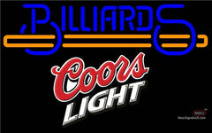 Coors Light Billiards Text With Stick Pool Neon Beer Sign