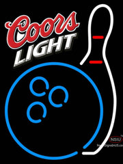 Coors Light Bowling Neon Blue White Neon Sign