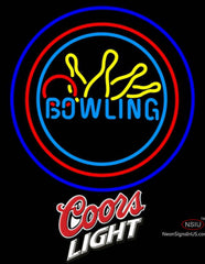Coors Light Bowling Neon Yellow Blue Sign