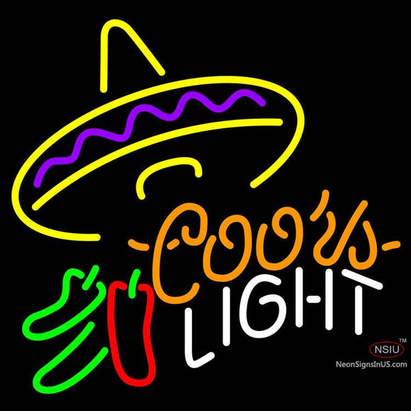 Coors Light Mexican Sombrero Chili Peppers Neon Beer Sign x