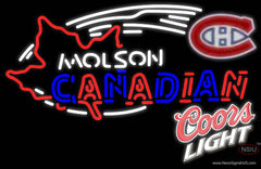 Coors Light Molson Montreal Canadians Hockey Real Neon Glass Tube Neon Sign