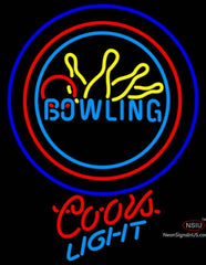 Coors Light Neon Bowling Neon Yellow Blue Sign