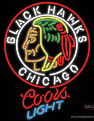 Coors Light Commemorative  Chicago Blackhawks Hockey Real Neon Glass Tube Neon Sign