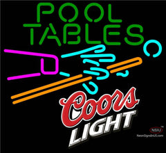 Coors Light Pool Tables Billiards Neon Beer Sign