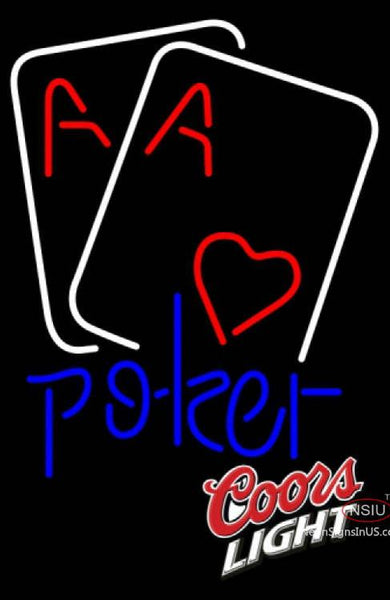 Coors Light Heart Poker Cards Neon Sign