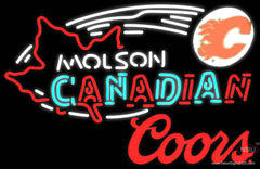 Coors Molson Flames Hockey Real Neon Glass Tube Neon Sign