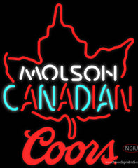 Coors Molson Leaf Hockey Real Neon Glass Tube Neon Sign
