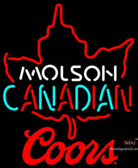 Coors Molson Leaf Hockey Neon Sign