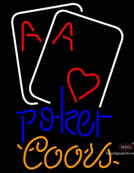 Coors Neon Heart Poker Cards Neon Sign