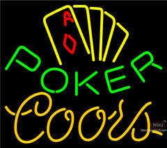Coors Poker Yellow Neon Sign