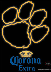 Corona Extra Clemson UNIVERSITY Tiger Print Real Neon Glass Tube Neon Sign