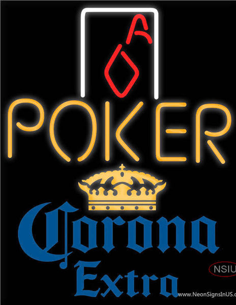 135029033 Corona Extra Poker Squver Ace Real Neon Glass Tube Neon Sign ...