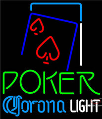 Corona Light Green Poker Red Heart Neon Sign