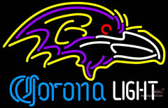 Corona Light Neon Baltimore Ravens NFL Neon Sign