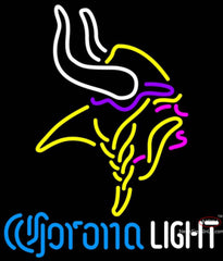 Corona Light Neon Logo Minnesota Vikings NFL Neon Sign