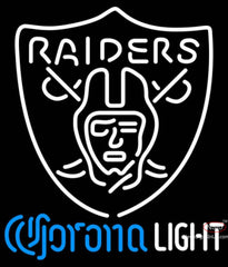 Corona Light Neon Logo Oakland Raiders NFL Neon Sign