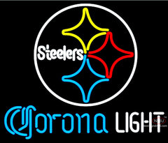 Corona Light Neon Pittsburgh Steelers NFL Neon Sign