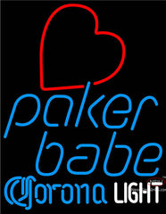 Corona Light Poker Girl Heart Babe Neon Sign