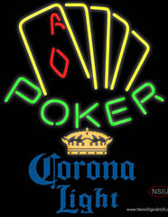 Corona Light Poker Yellow Real Neon Glass Tube Neon Sign