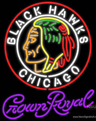 Crown Royal Commemorative  Chicago Blackhawks Hockey Real Neon Glass Tube Neon Sign