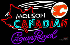Crown Royal Molson Flames Hockey Neon Sign