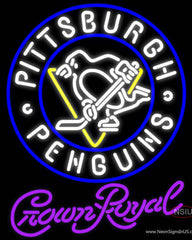 Crown Royal Pittsburgh Penguins Hockey Real Neon Glass Tube Neon Sign
