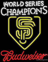 Budweiser Logo World Series Champions Sf Real Neon Glass Tube Neon Sign