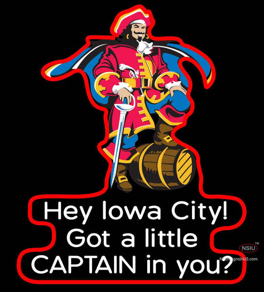 Custom Captain Morgan With Lowa City Neon Sign