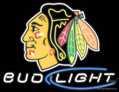 Chicago Blackhawks Bud Light NHL Real Neon Glass Tube Neon Sign