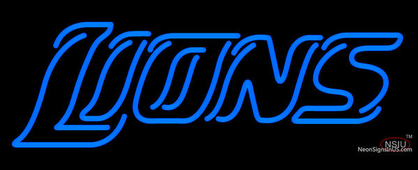 Custom Detroit Lions  Wordmark Logo Neon Sign