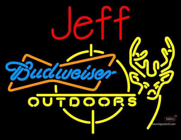 Custom Jeff Outdoors Deer Hunting Bud Light Neon Sign