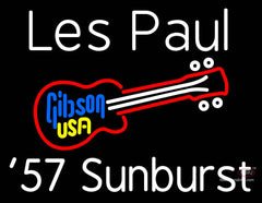 White Les Paul 7 Starburst Gibson Guitar Neon Sign