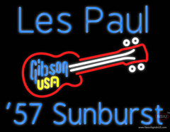Blue Les Paul 7 Starburst Gibson Guitar Real Neon Glass Tube Neon Sign