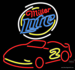 Miller Lite Logo Nascar Rusty Wallace Beer Real Neon Glass Tube Neon Sign