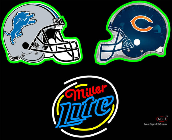 Miller Lite with NFL Team Logo Helmet Neon Sign