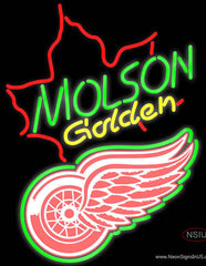 Molson Golden Maple Leaf with NHL Detroit Red Wings Logo Real Neon Glass Tube Neon Sign