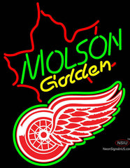 Molson Golden Maple Leaf with NHL Detroit Red Wings Logo Neon Sign