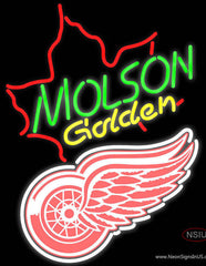 NHL Detroit Red Wings with Molson Golden Maple Leaf Real Neon Glass Tube Neon Sign