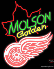 Molson Golden Maple Leaf with NHL Detroit Red Wings Real Neon Glass Tube Neon Sign