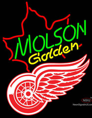 Molson Golden Maple Leaf with NHL Detroit Red Wings Neon Sign