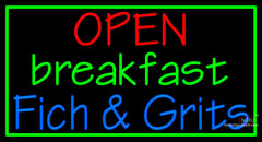 Custom Open Breakfast Fich And Grits Neon Sign