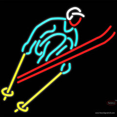 Skier Logo Real Neon Glass Tube Neon Sign