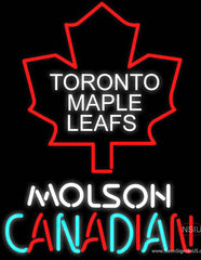 Toronto Maple Leafs Logo Molson Canadian Real Neon Glass Tube Neon Sign