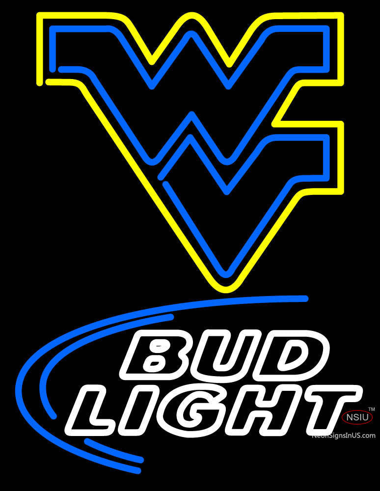 West Virginia University Flying Wv And Budlight Logo Real Neon Glass Tube  Neon Sign
