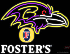 Fosters Baltimore Ravens NFL Real Neon Glass Tube Neon Sign