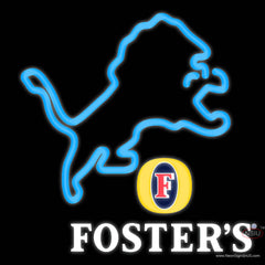 Fosters Detroit Lions NFL Real Neon Glass Tube Neon Sign   x
