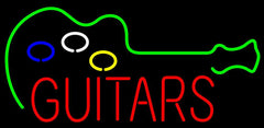 Guitars Flashing Handmade Art Neon Sign