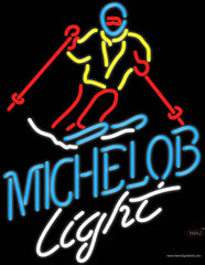 Michelob Light Snow Skier Neon Beer Sign